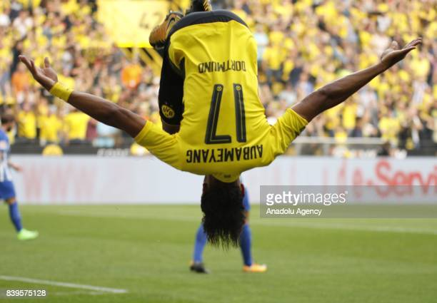 PierreEmerick Aubameyang of Borussia Dortmund celebrates after scoring a goal during the Bundesliga soccer match between Borussia Dortmund and Hertha...
