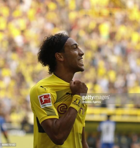 PierreEmerick Aubameyang of Borussia Dortmund celebrates after scoring a goal during the Bundesliga soccer match between Borussia Dortmund and Hertha...
