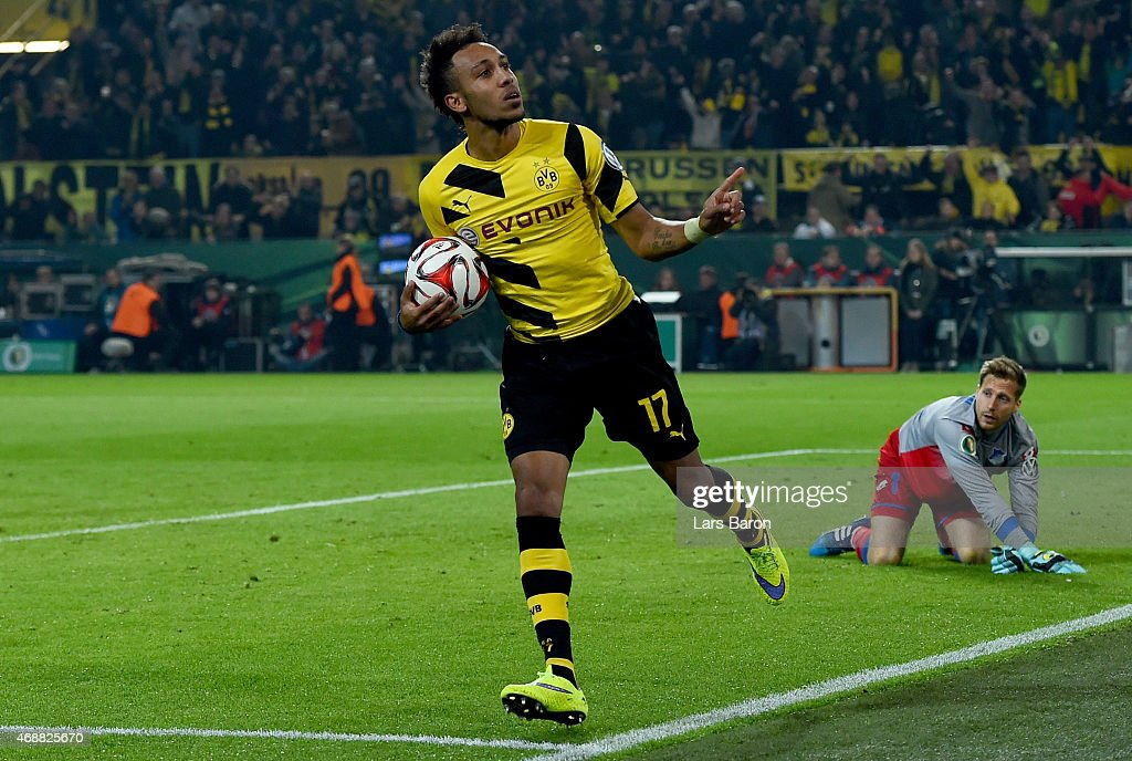 <a gi-track='captionPersonalityLinkClicked' href=/galleries/search?phrase=Pierre-Emerick+Aubameyang&family=editorial&specificpeople=6344916 ng-click='$event.stopPropagation()'>Pierre-Emerick Aubameyang</a> of Borussia Dortmund celebrates after scoring his teams second goal during the DFB Cup Quarter Final match between at Borussia Dortmund and 1899 Hoffenheim at Signal Iduna Park on April 7, 2015 in Dortmund, Germany.