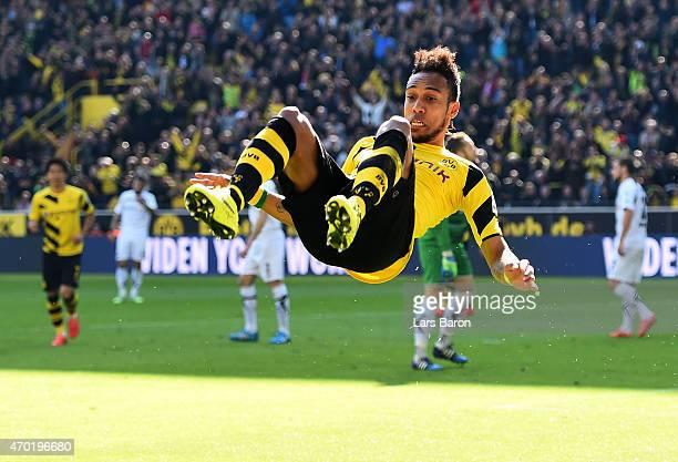 PierreEmerick Aubameyang of Borussia Dortmund celebrates after scoring his teams second goal during the Bundesliga match between Borussia Dortmund...