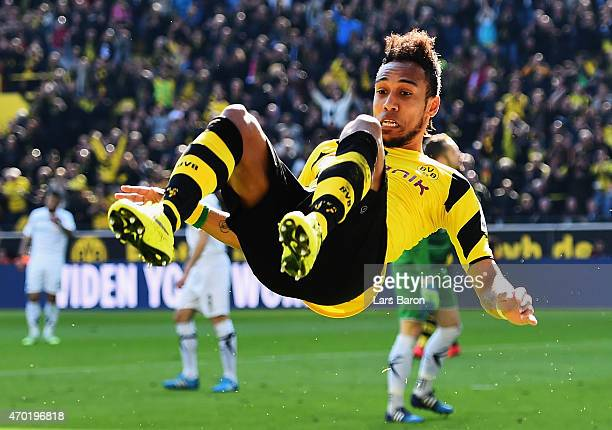 PierreEmerick Aubameyang of Borussia Dortmund celebrates after scoring his teams second goal during the Bundesliga match between Borussia Dortmund...