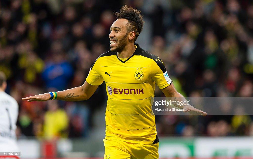 Pierre-Emerick Aubameyang of Borussia Dortmund celebrates after scoring the opening goal during the Bundesliga match between Bayer Leverkusen and Borussia Dortmund at BayArena on February 21, 2016 in Leverkusen, Germany.