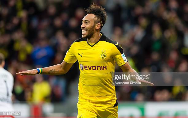 PierreEmerick Aubameyang of Borussia Dortmund celebrates after scoring the opening goal during the Bundesliga match between Bayer Leverkusen and...