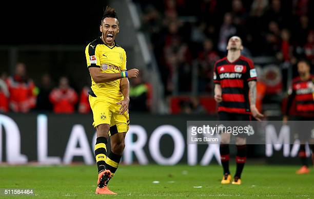 PierreEmerick Aubameyang of Borussia Dortmund celebrates after winning the Bundesliga match between Bayer Leverkusen and Borussia Dortmund at...