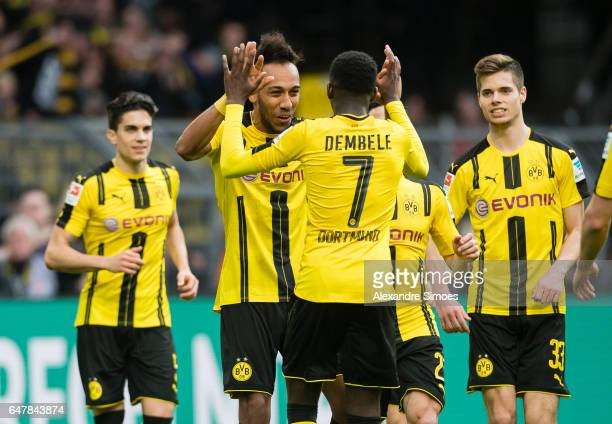 PierreEmerick Aubameyang of Borussia Dortmund celebrates after scoring the goal to the 31 together with Ousmane Dembele during the Bundesliga match...