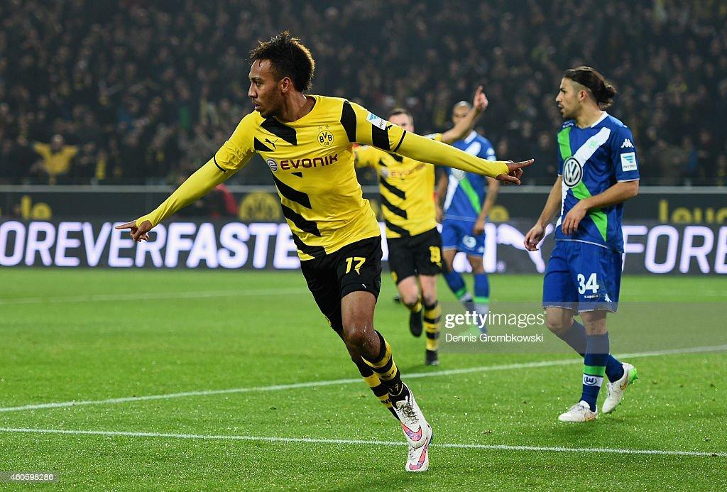 PierreEmerick Aubameyang of Borussia Dortmund celebrates as he scores the opening goal during the Bundesliga match between Borussia Dortmund and VfL...