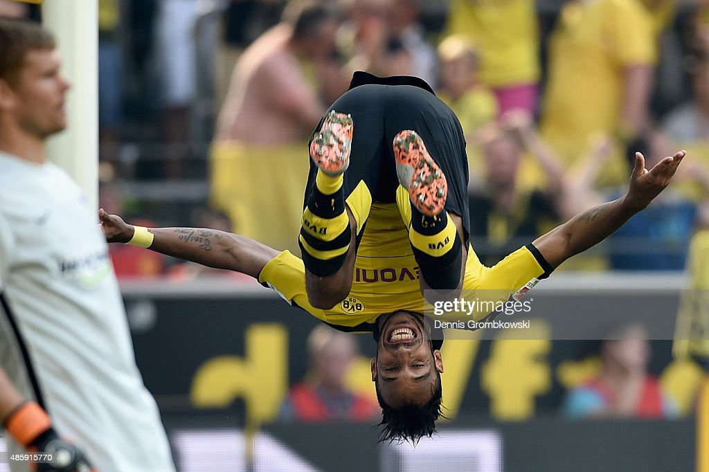 PierreEmerick Aubameyang of Borussia Dortmund celebrates as he scores the second goal during the Bundesliga match between Borussia Dortmund and...