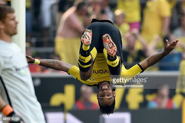 PierreEmerick Aubameyang of Borussia Dortmund celebrates as he scores the second goal during the Bundesliga match between Borussia Dortmund and...