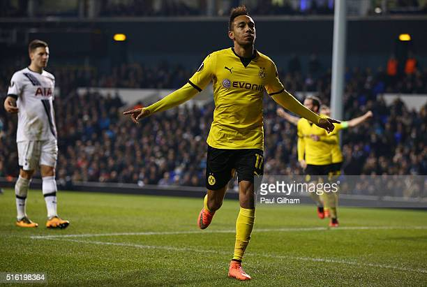 PierreEmerick Aubameyang of Borussia Dortmund celebrates as he scores their second goal during the UEFA Europa League round of 16 second leg match...