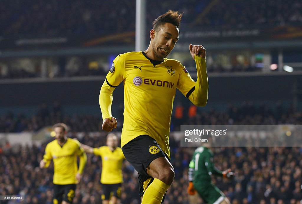 Pierre-Emerick Aubameyang of Borussia Dortmund celebrates as he scores their second goal during the UEFA Europa League round of 16, second leg match between Tottenham Hotspur and Borussia Dortmund at White Hart Lane on March 17, 2016 in London, England.