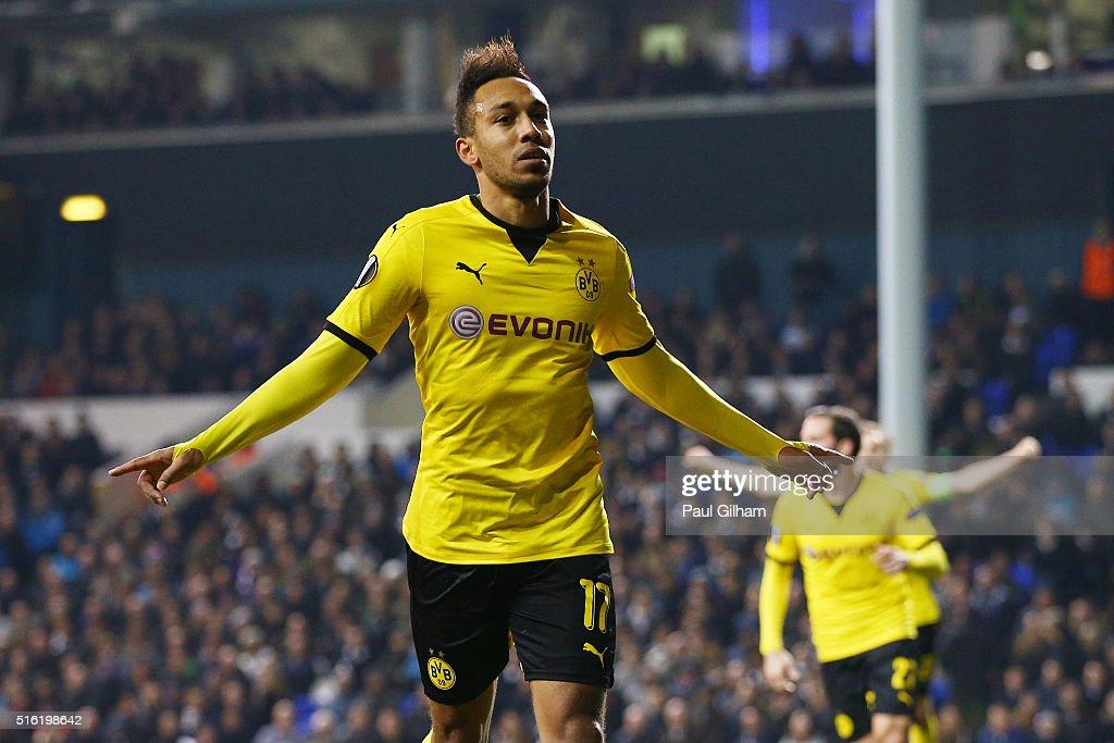 PierreEmerick Aubameyang of Borussia Dortmund celebrates as he scores their second goal during the UEFA Europa League round of 16 second leg match...