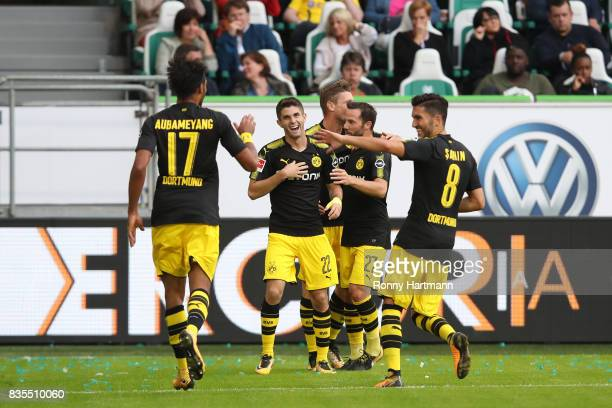 PierreEmerick Aubameyang of Borussia Dortmund celebrates his goal to make it 03 for Dortmund with Christian Pulisic of Borussia Dortmund and Nuri...