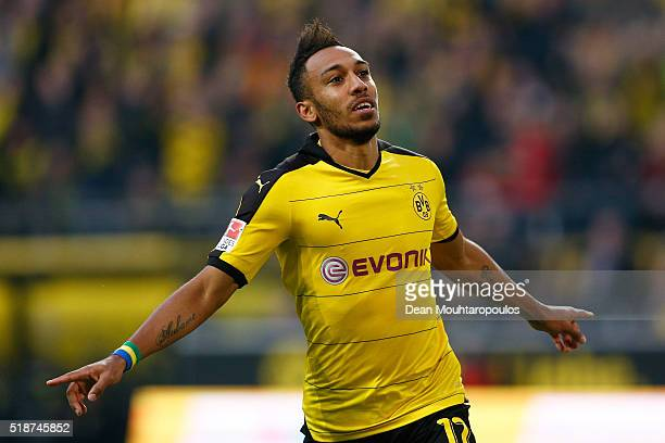 PierreEmerick Aubameyang of Borussia Dortmund celebrates scoring his team's first goal during the Bundesliga match between Borussia Dortmund and...