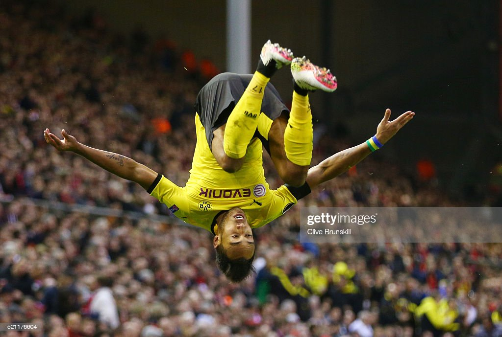<a gi-track='captionPersonalityLinkClicked' href=/galleries/search?phrase=Pierre-Emerick+Aubameyang&family=editorial&specificpeople=6344916 ng-click='$event.stopPropagation()'>Pierre-Emerick Aubameyang</a> of Borussia Dortmund celebrates scoring his team's second goal during the UEFA Europa League quarter final, second leg match between Liverpool and Borussia Dortmund at Anfield on April 14, 2016 in Liverpool, United Kingdom.