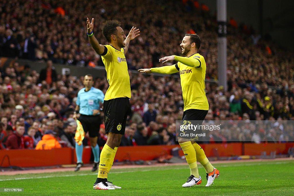 PierreEmerick Aubameyang of Borussia Dortmund celebrates scoring his team's second goal with Gonzalo Castro during the UEFA Europa League quarter...