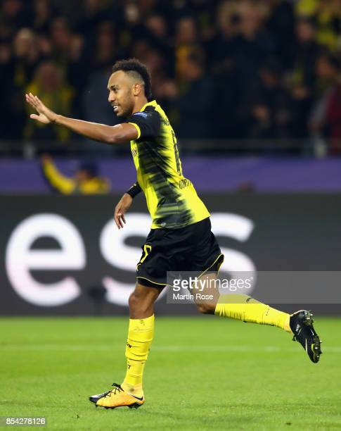 PierreEmerick Aubameyang of Borussia Dortmund celebrates scoring his sides first goal during the UEFA Champions League group H match between Borussia...