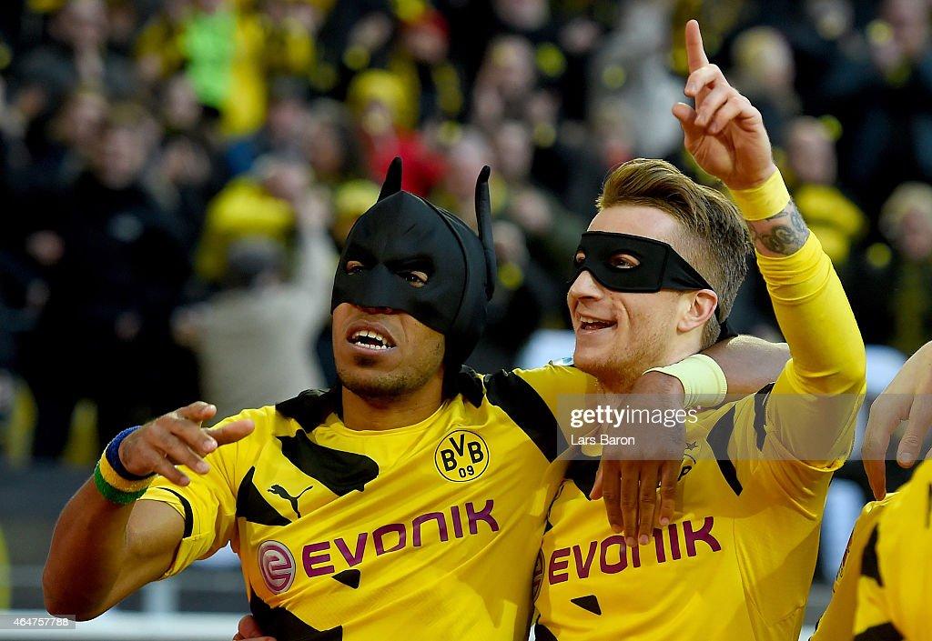 PierreEmerick Aubameyang of Borussia Dortmund celebrates with Marco Reus of Borussia Dortmund after scoring his teams first goal during hte...