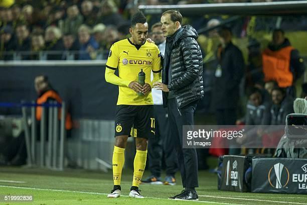 PierreEmerick Aubameyang of Borussia Dortmund coach Thomas Tuchel of Borussia Dortmund during the UEFA Europa League quarterfinal match between...
