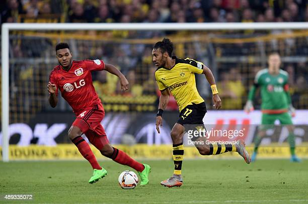 PierreEmerick Aubameyang of Borussia Dortmund controls the ball during the Bundesliga match between Borussia Dortmund and Bayer Leverkusen at Signal...