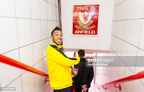 PierreEmerick Aubameyang of Borussia Dortmund during a training session prior to the Europa League match between Liverpool FC and Borussia Dortmund...