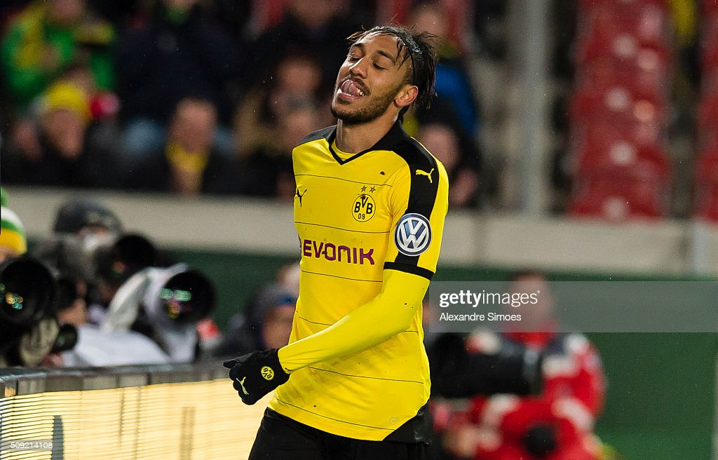 Pierre-Emerick Aubameyang of Borussia Dortmund during the DFB Cup match between VfB Stuttgart and Borussia Dortmund at Mercedes-Benz Arena on February 09, 2016 in Stuttgart, Germany.