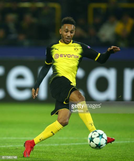 PierreEmerick Aubameyang of Borussia Dortmund during UEFA Ch scores his sides first goal ampion League Group H Borussia Dortmund between Tottenham...