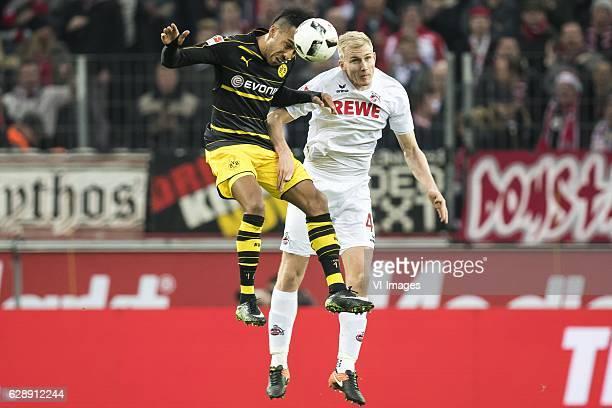 PierreEmerick Aubameyang of Borussia Dortmund Frederik Sorensen of 1FC Kolnduring the Bundesliga match between 1 FC Koln and Borussia Dortmund on...
