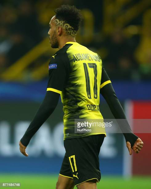 PierreEmerick Aubameyang of Borussia Dortmund Hair Style during UEFA Champion League Group H Borussia Dortmund between Tottenham Hotspur played at...