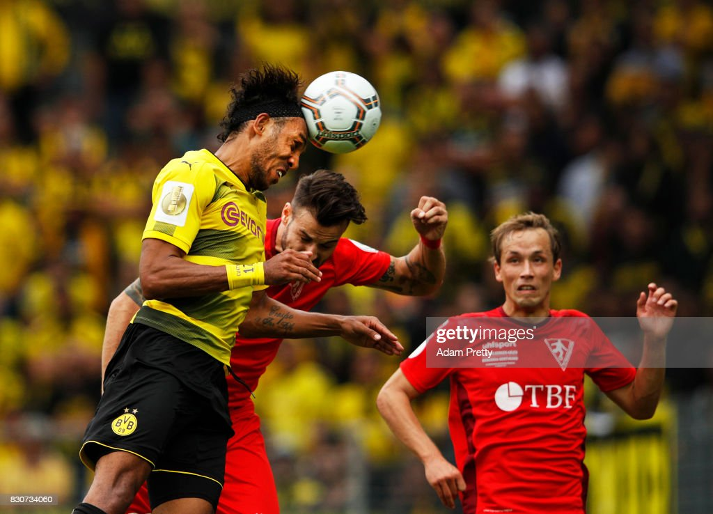 Pierre-Emerick Aubameyang of Borussia Dortmund hits the post with a header during the DFB Cup match between 1. FC Rielasingen-Arlen and Borussia Dortmund at Schwarzwald-Stadion on August 12, 2017 in Freiburg im Breisgau, Germany.
