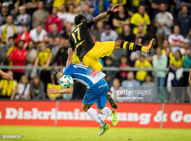 PierreEmerick Aubameyang of Borussia Dortmund in action during a friendly match between Espanyol Barcelona and Borussia Dortmund as part of the...