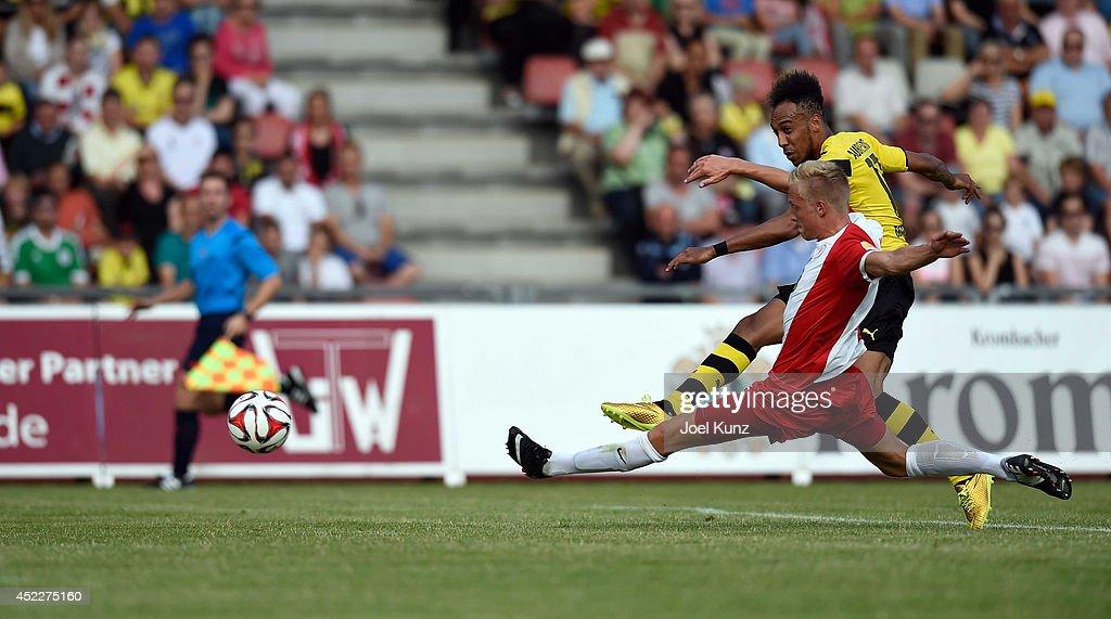 PierreEmerick Aubameyang of Borussia Dortmund in action during the Hessen Kassel v Borussia Dortmund Friendly Match on July 15 2014 Kassel Germany