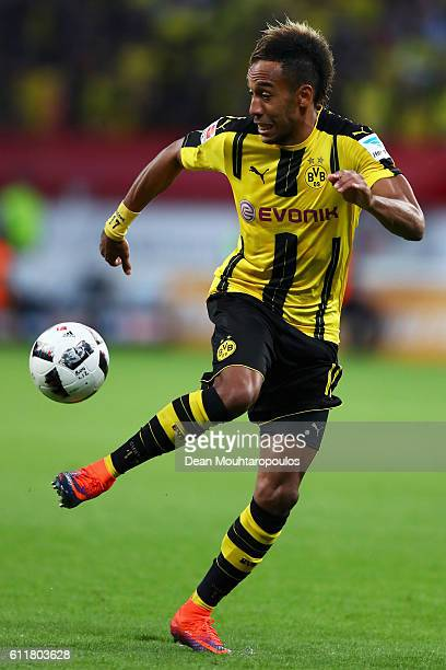 PierreEmerick Aubameyang of Borussia Dortmund in action during the Bundesliga match between Bayer 04 Leverkusen and Borussia Dortmund at BayArena on...