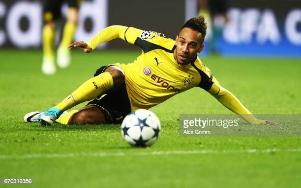 PierreEmerick Aubameyang of Borussia Dortmund in action during the UEFA Champions League Quarter Final second leg match between AS Monaco and...