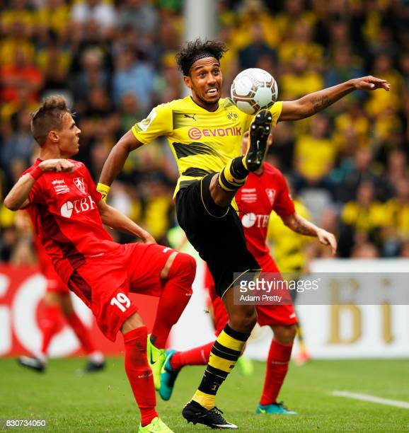 PierreEmerick Aubameyang of Borussia Dortmund in action during the DFB Cup match between 1 FC RielasingenArlen and Borussia Dortmund at...