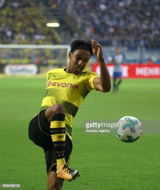 PierreEmerick Aubameyang of Borussia Dortmund in action during the Bundesliga soccer match between Borussia Dortmund and Hertha BSC Berlin at the...