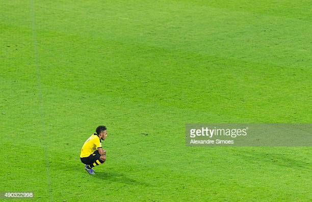 PierreEmerick Aubameyang of Borussia Dortmund looks dejected after the final whistle during the Bundesliga match between Borussia Dortmund and SV...