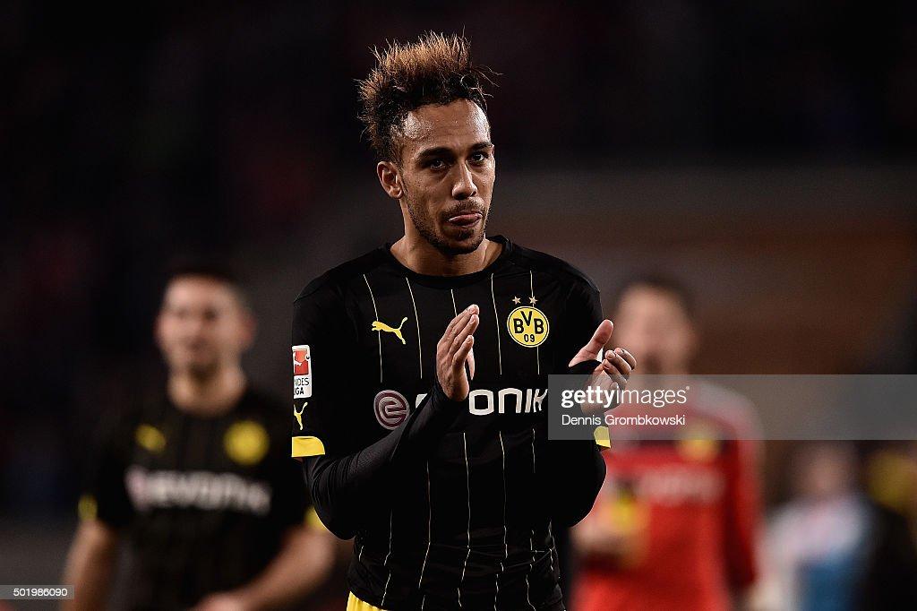 PierreEmerick Aubameyang of Borussia Dortmund looks dejected after the Bundesliga match between 1 FC Koeln and Borussia Dortmund at...