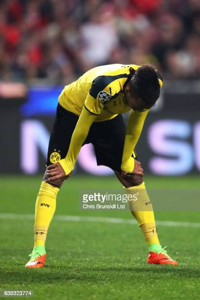 PierreEmerick Aubameyang of Borussia Dortmund looks dejected during the UEFA Champions League Round of 16 first leg match between SL Benfica and...