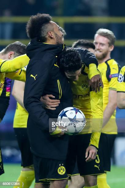 PierreEmerick Aubameyang of Borussia Dortmund Marc Bartra of Borussia Dortmund celebrate their win after the UEFA Champions League Round of 16 Second...