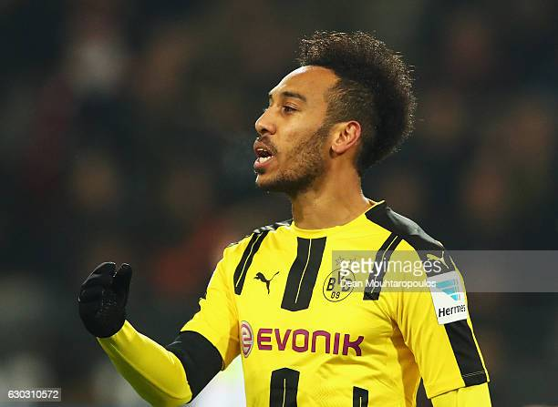 PierreEmerick Aubameyang of Borussia Dortmund reacts during the Bundesliga match between Borussia Dortmund and FC Augsburg at Signal Iduna Park on...