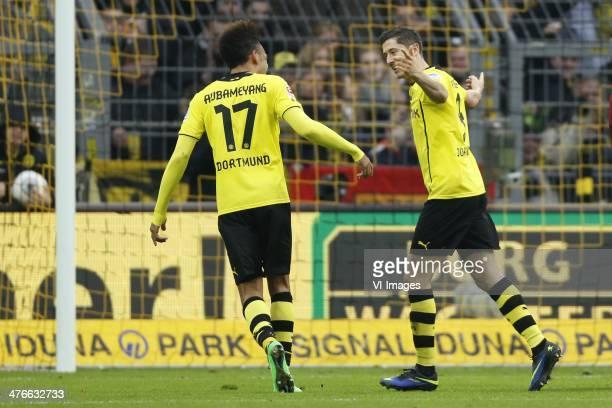 PierreEmerick Aubameyang of Borussia Dortmund Robert Lewandowski of Borussia Dortmund during the Bundesliga match between Borussia Dortmund and 1 FC...