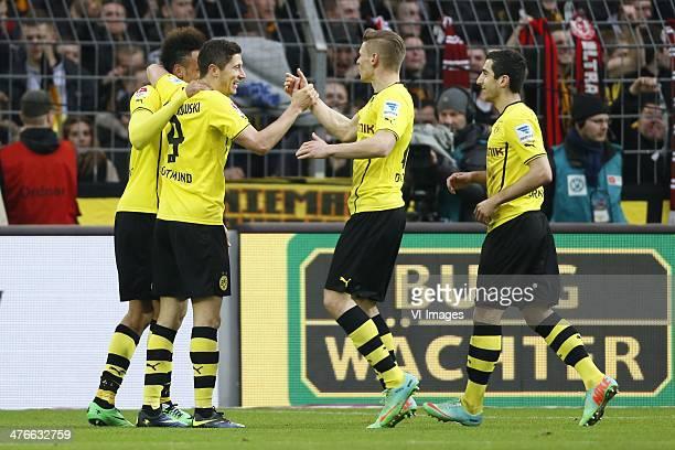 PierreEmerick Aubameyang of Borussia Dortmund Robert Lewandowski of Borussia Dortmund Lukasz Piszczek of Borussia Dortmund Henrikh Mkhitryan of...