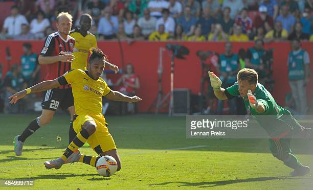 PierreEmerick Aubameyang of Borussia Dortmund scores his team's fourth goal during the Bundesliga match between FC Ingolstadt and Borussia Dortmund...