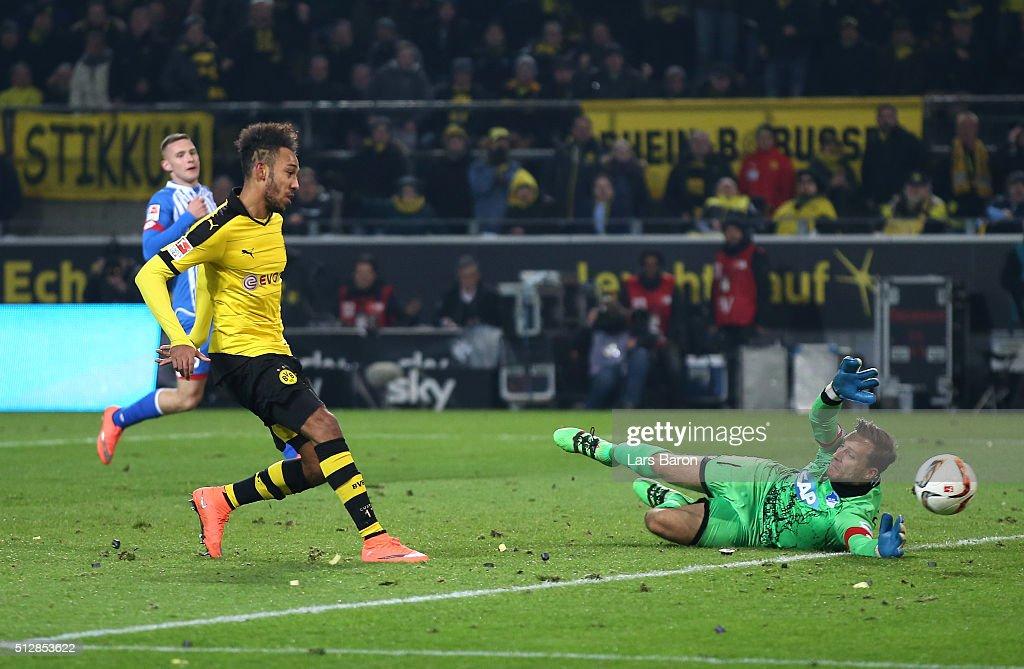 PierreEmerick Aubameyang of Borussia Dortmund scores his team's third goal during the Bundesliga match between Borussia Dortmund and 1899 Hoffenheim...