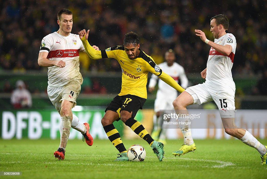 PierreEmerick Aubameyang of Borussia Dortmund scores their second goal during the DFB Cup Quarter Final match between VfB Stuttgart and Borussia...