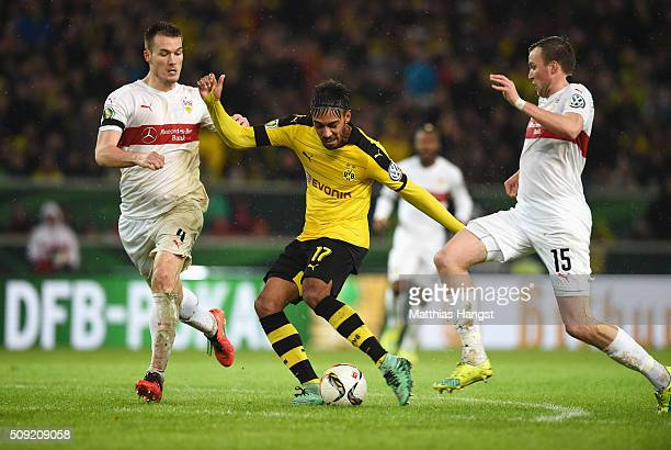 PierreEmerick Aubameyang of Borussia Dortmund scores their second goal during the DFB Cup Quarter Final match between VfB Stuttgart and Borussia...