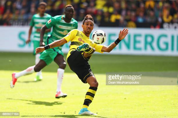PierreEmerick Aubameyang of Borussia Dortmund shoots and scores a goal during the Bundesliga match between Borussia Dortmund and Werder Bremen at...