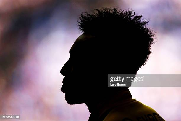 PierreEmerick Aubameyang of Borussia Dortmund takes part in the warmup before the Bundesliga match between FC Schalke 04 and Borussia Dortmund at...