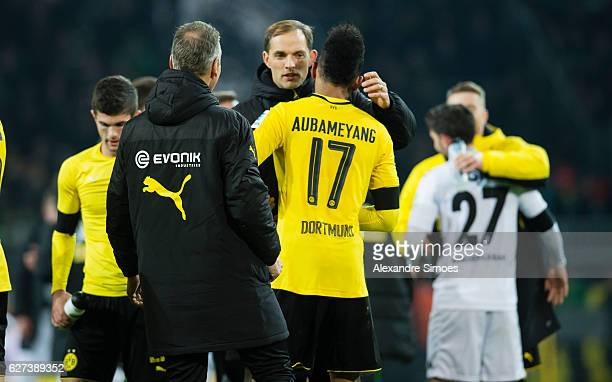 PierreEmerick Aubameyang of Borussia Dortmund together with his head coach Thomas Tuchel after the final whistle during to the Bundesliga match...