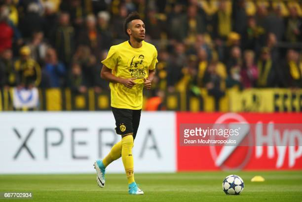 PierreEmerick Aubameyang of Borussia Dortmund wears a shirt for Marc Bartra who was injured in the team coach attack prior to the UEFA Champions...